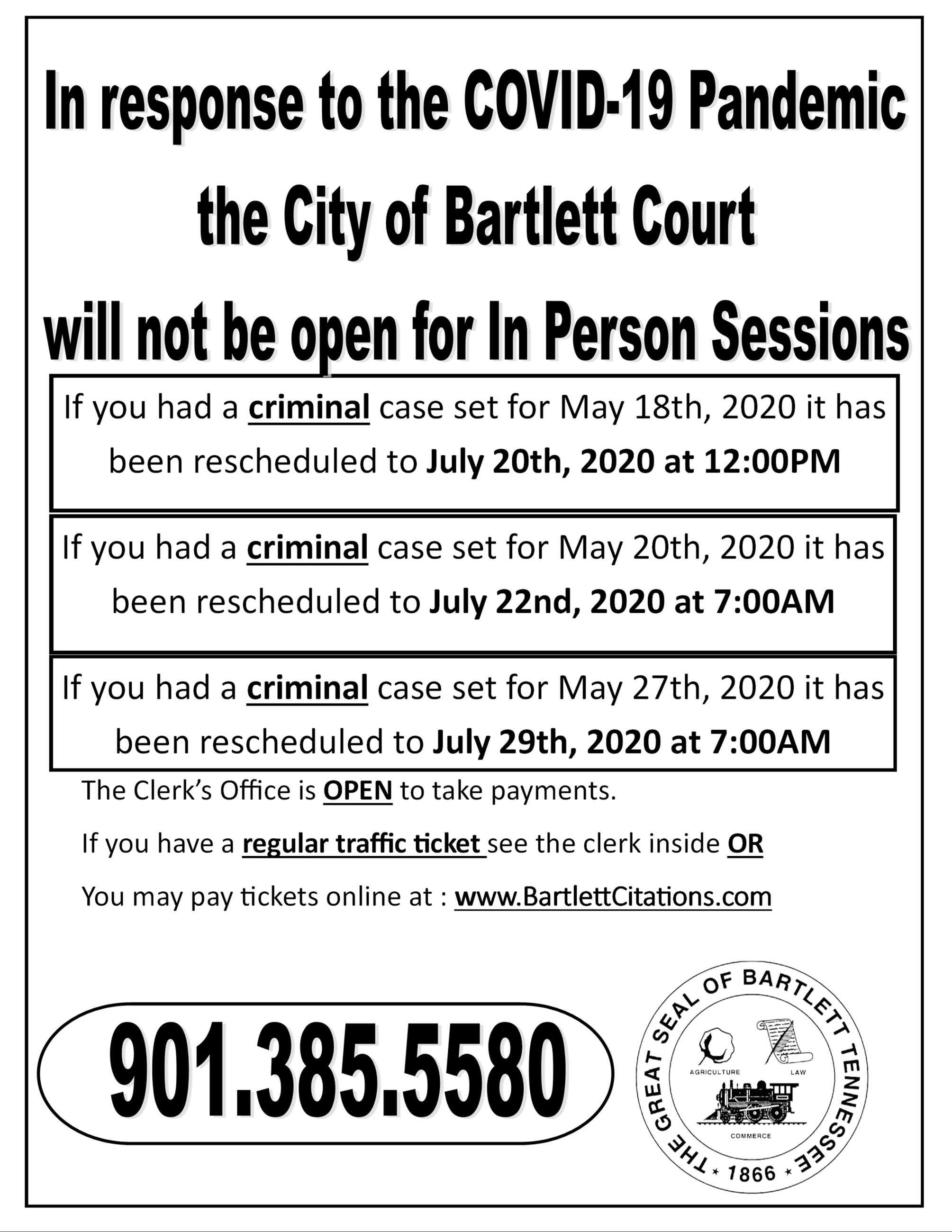 Bartlett Court March 2020 suspended until end of March
