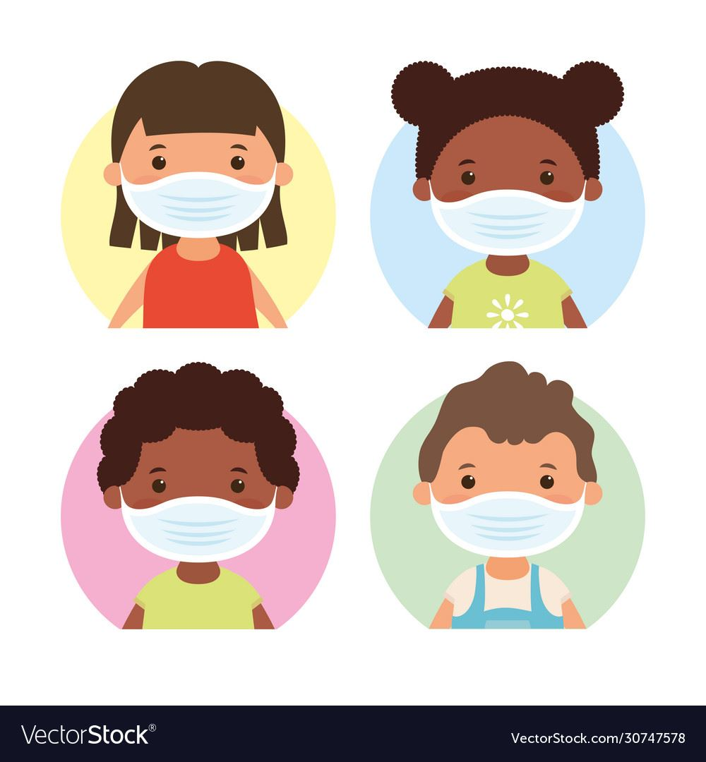 interracial-little-kids-using-face-masks-vector-30747578