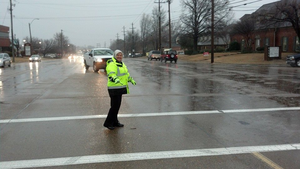 Crossing guard standing in the street