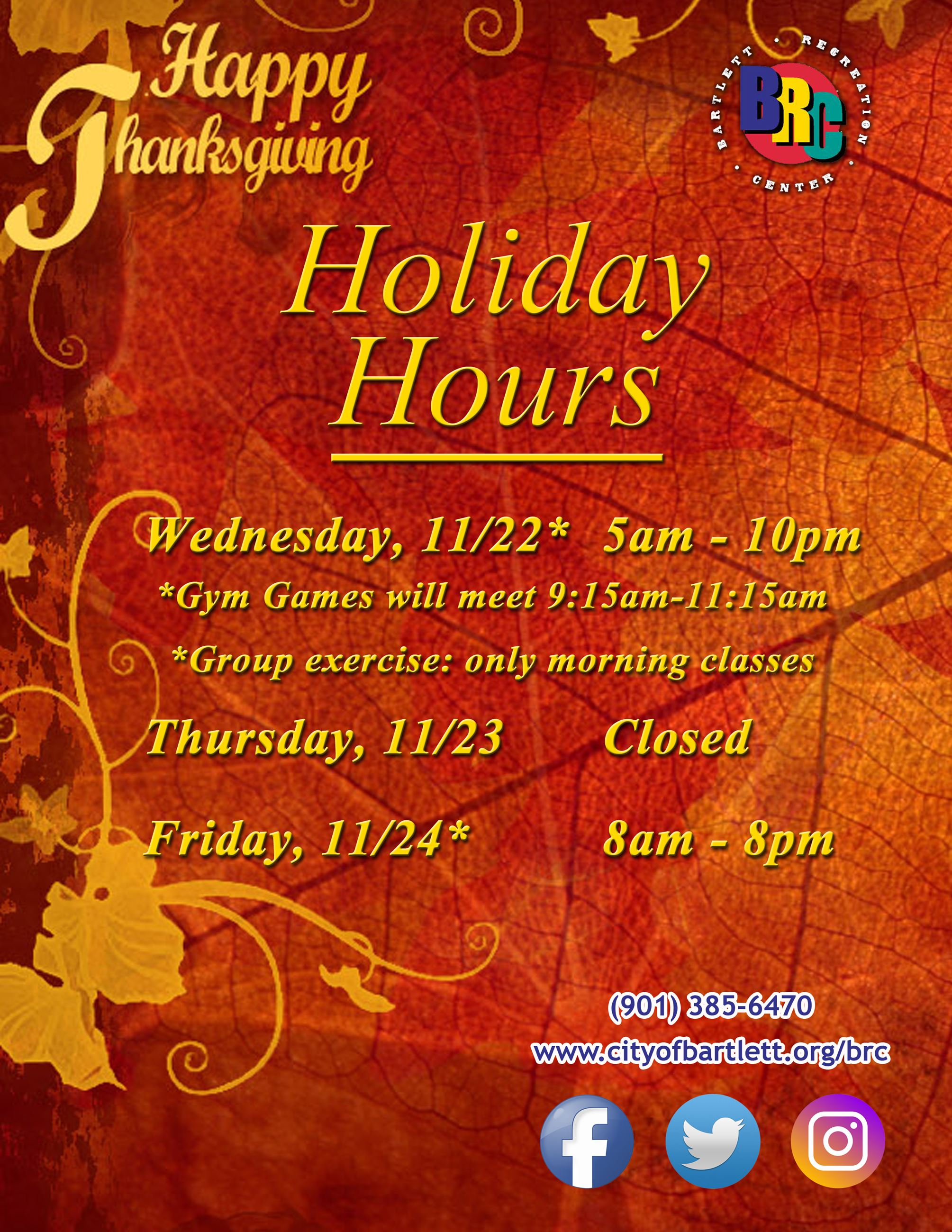 Thanksgiving Hours - 2017